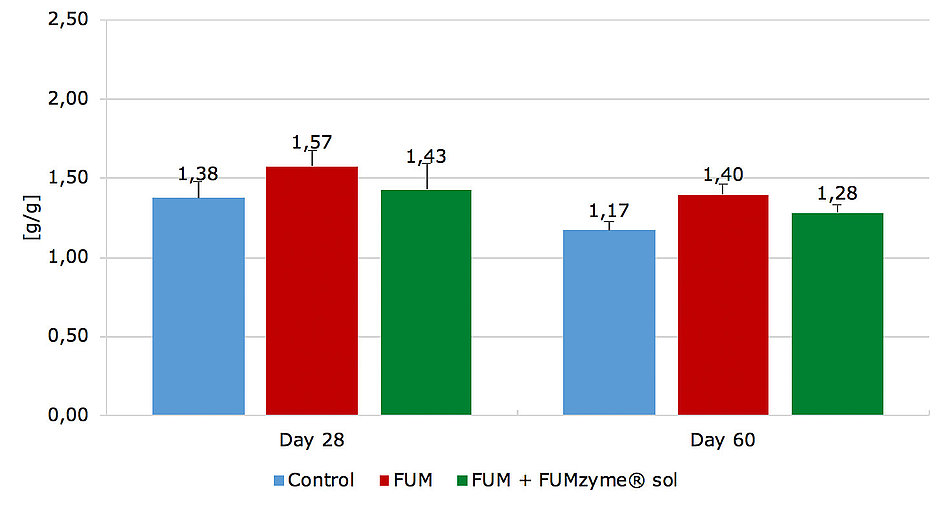 Figure 5. Feed conversion rate (FCR) on day 28 and day 60 of the trial.